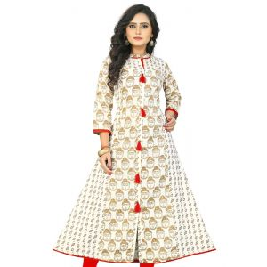 Women Ready Made Kurti Off White Color Formal