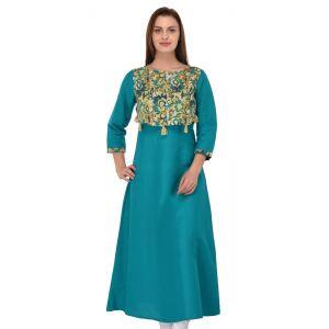 Women Ready Made Kurti Green Color Formal