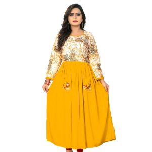 Women Ready Made Kurti Yellow Color Rayon