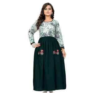 Women Ready Made Kurti Green Color Rayon