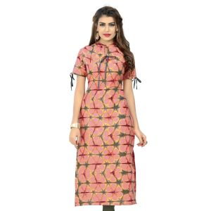 Women Ready Made Kurti Orange Color Cotton