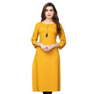 Women Ready Made Kurti Yellow Color Rayon
