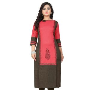Women Ready Made Kurti Pink Color Cotton