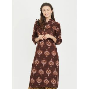 Women Ready Made Kurti Brown Color Rayon