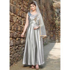 Women Gown Satin Silver color Designer