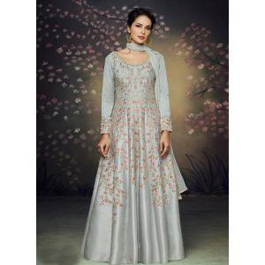Women Gown Silk Grey color
