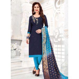 Exquisite Blue Cotton Salwar Kameez