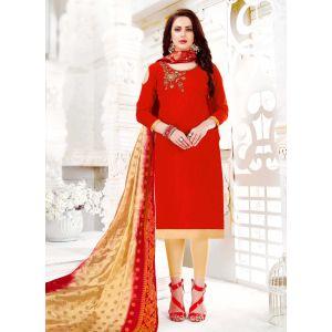 Majesty Embroidery Red Salwar Kameez