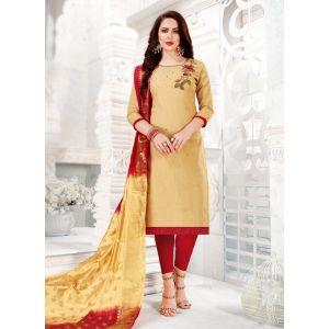 Flamboyant Beige Color Salwar Kameez
