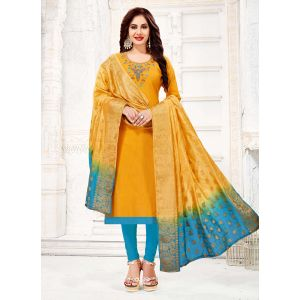 Classy Yellow Salwar Kameez With Silk Dupatta