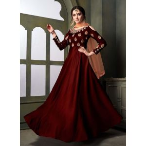 Women Gown Maroon color Designer