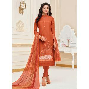 Exquisite Orange Cotton Salwar Suit