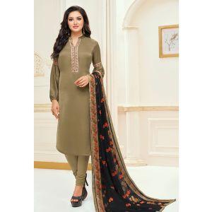 Ravishing Mehendi Cotton Salwar Suit