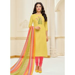 Enigmatic Yellow Cotton Salwar Suit