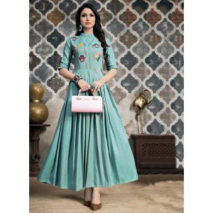 Adorable Sky Blue Embroidery Ready Made Kurti