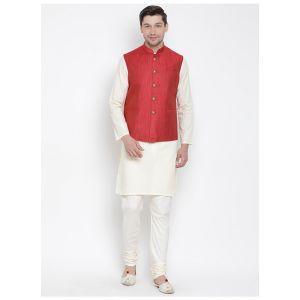 Readymade Cream Color Jacket Kurta Payjama Set
