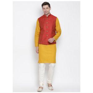 Readymade Mustard Color Jacket Kurta Payjama Set