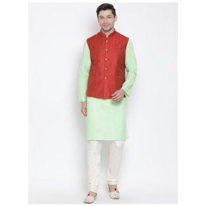 Readymade Mint Green Color Jacket Kurta Payjama Set