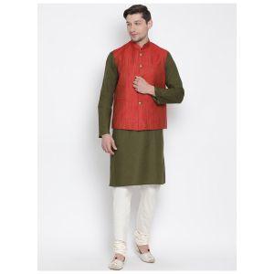 Readymade Mehandi Color Jacket Kurta Payjama Set