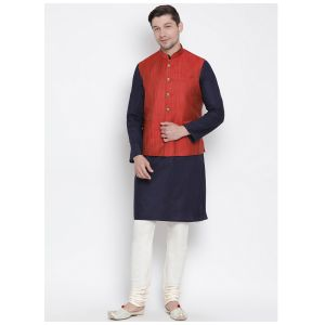 Readymade Navy Blue Color Jacket Kurta Payjama Set