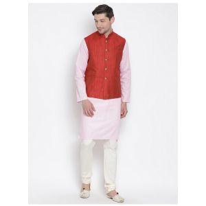 Readymade Baby Pink Color Jacket Kurta Payjama Set