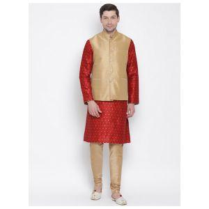 Readymade Red Color Jacket Kurta Payjama Set