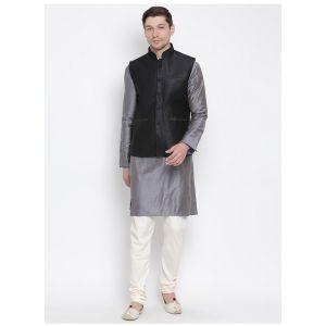 Readymade Grey Color Jacket Kurta Payjama Set