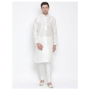 Readymade White Color Jacket Kurta Payjama Set