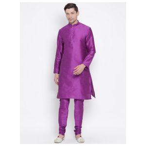 Readymade Purple Color Jacket Kurta Payjama Set