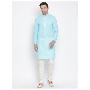 Readymade Sky Blue Color Jacket Kurta Payjama Set