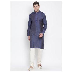 Readymade Royal Blue Color Jacket Kurta Payjama Set
