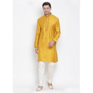 Readymade Yellow Color Jacket Kurta Payjama Set