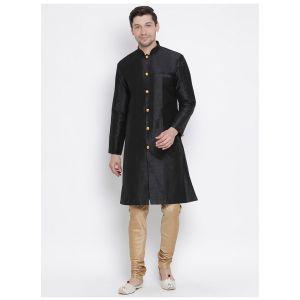 Readymade Black Color Jacket Kurta Payjama Set