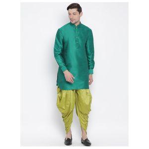 Readymade Green Color Jacket Kurta Payjama Set