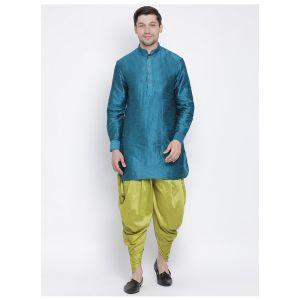 Readymade Turquoise Color Jacket Kurta Payjama Set