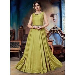 Alluring Mahendi Green Designer Gown