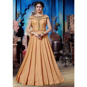 Splendorous Peach Designer Gown