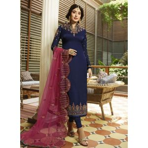 Satin Georgette Navy Blue Churidar Suit