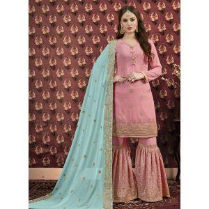 Light Pink Designer Faux Georgette Sharara Suit