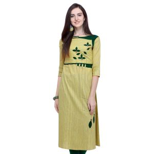 Casual Olive Green Readymade Cotton Kurti