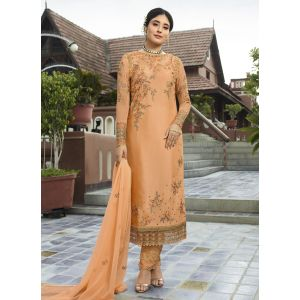 Designer Light Orange Embroidred Salwar Suit