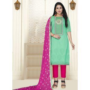 Adorable Aqua Green Cotton Salwar Kameez with Dupatta