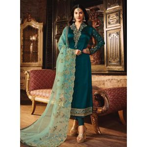 Snappy Sea Blue Satin Georgette Salwar Suit