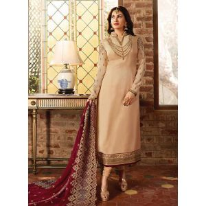 Embellish Cream Satin Georgette Salwar Suit