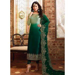 Aesthetic Green Satin Georgette Salwar Suit