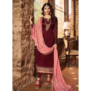 Effective Maroon Satin Georgette Salwar Suit