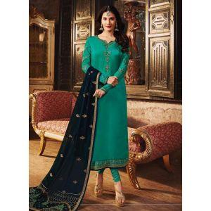 Beautiful Green Satin Georgette Salwar Suit