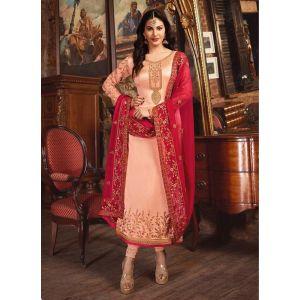 Exquisite Peach Satin Georgette Salwar Suit