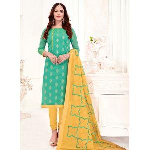 Light Green Casual Wear Banarasi Jacquard Salwar Suit