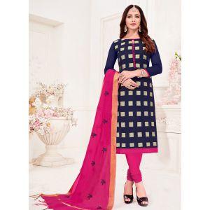 Navy Blue Casual Wear Banarasi Jacquard Salwar Suit